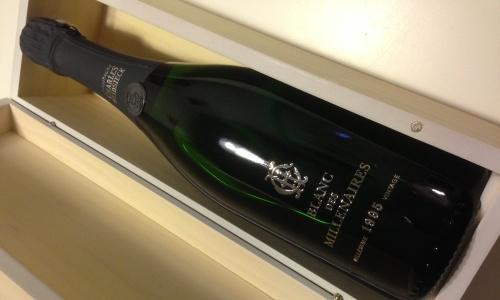 Champagne Blanc des Millenaires (vintage 1995) di Charles Heidsieck, champagne generoso 100 chardonnay. Una buona opzione per alzare in alto i calici, al pari di Emeraude Brut Alain R�aut, Eclat Saten Santa Lucia e�Blauwald Cesconi