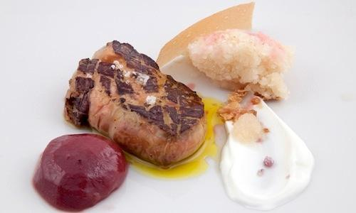 Foie gras, peach, Birra Moretti Grand Cru granita the savoury recipe that opened the mini-menu by Francesco Di Lorenzo, sous chef at Il Pagliaccio in Rome, during the finals of the third edition of Premio Birra Moretti Grand Cru. Ginger was his chosen spice