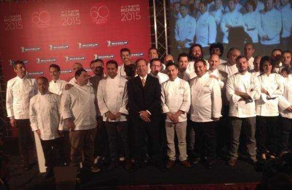 A group photo with the new Michelin starred chefs,