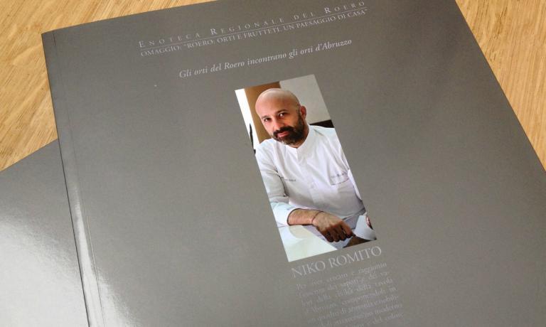 La copertina del libro che l'Enoteca del Roero ha dedicato a Niko Romito. I testi sono di Luciano Bertello, presidente dell'Enoteca, e del critico letterario Giovanni Tesio; le foto di Bruno Murialdo.
