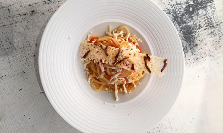L'Amatriciana di lago proposta a Identit� di Pasta dal giovanissimo Denny Manzoni, cuoco della Piazzetta di Montevecchia (Lecco)