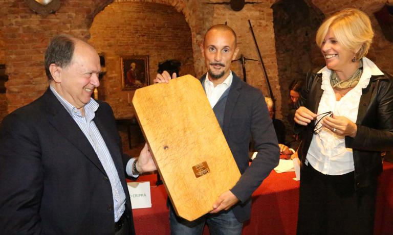 Enrico Crippa premiato qualche ora fa dall'Enoteca