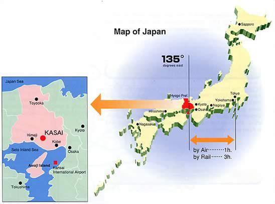 In rosso, la prefettura di Hyogo, capitale Kobe
