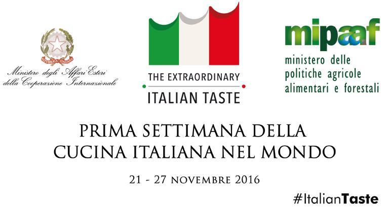 Da oggi,lunedì 21, fino a domenica 27 novembre, ha luogo la primaSettimana della cucina italiana nel mondo, un evento importante all'anno zero che coinvolge 3 ministeri (Politiche Agricole, Esteri e Sviluppo economico), con il supporto di Identità Goloseel'associazioneAmbasciatori del Gusto.295 le sedi diplomatiche coinvolte in tutto il mondo