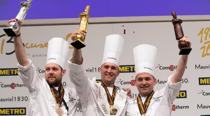 Il podio del Bocuse d'Or 2017: oro allo statunitense Mathew Peters, sous chef del Per Se di New York