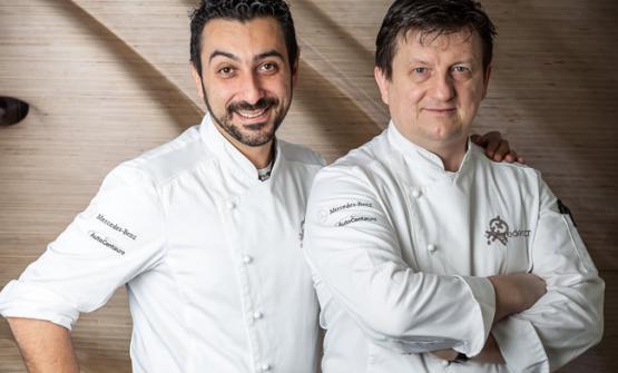 Igor Macchia con Giovanni Grasso, che da chef de La Credenza è passato a curare la sala, dando spazio al suo giovane collega