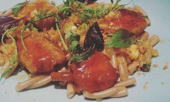 Caserecce with glazed chicken, harissa and lemon c