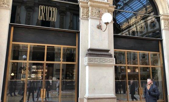 L'ingresso di Cracco in Galleria, in corso Vittorio Emanuele II a Milano. Apertura al pubblico: domani, 21 febbraio, dal mattino alla notte