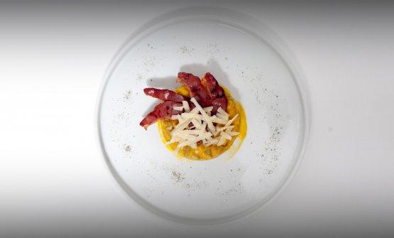 Gnocchi, crema di zucca e speck d'anatra: è l'ultimo dei piatti del mese presentati da East Lombardy nello spazio dedicato all'interno dell'aeroporto di Bergamo Orio al Serio, Winegate 11