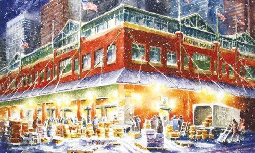 L'ex mercato di Fulton Market a New York nello splendido acquerello di�Naima Rauam, artista di pomeriggio, pescivendola al mattina. Per motivi logistici, il celebre punto di smercio ittico sull'East River a Manhattan � stato trasferito nel 2005 nel quartiere del Bronx