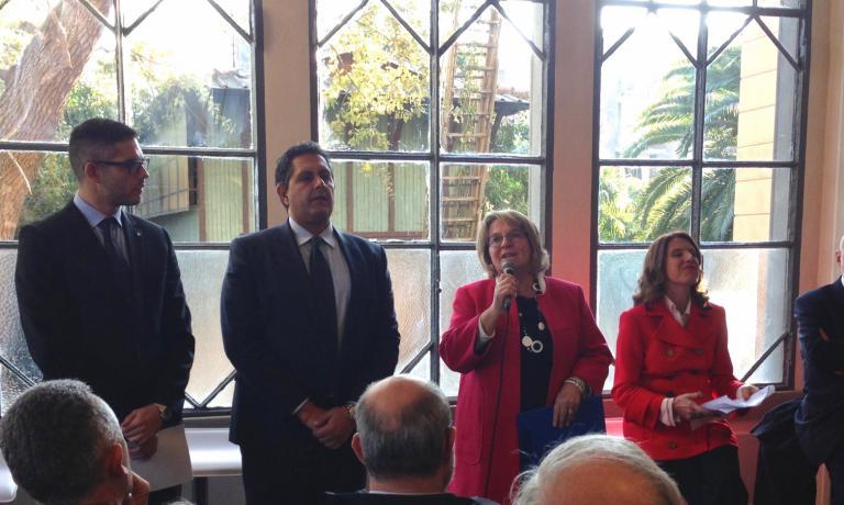 Il discorso del sindaco di Arenzano, Maria Luisa Biorci. Al suo fianco il governatore ligure Giovanni Toti