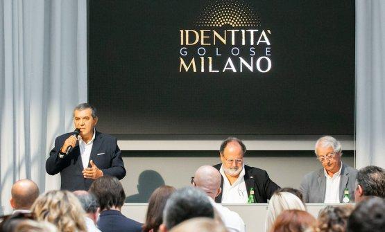 Claudio Ceroni,Paolo Marchi,Davide Rampellodurante la conferenza stampa di inaugurazione