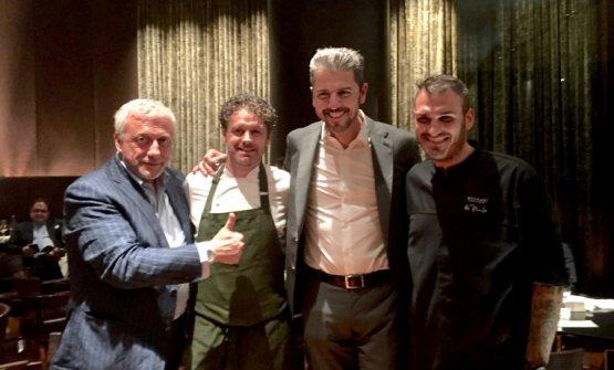 Zonfrillo al Bulgari di Milano, due anni fa, conDavide Scabin,Andrea BertoneRoberto Di Pinto