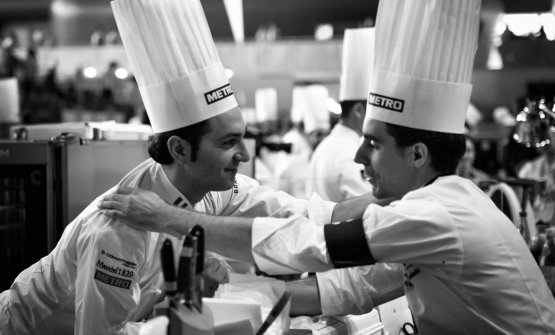 Poulain with Martino Ruggieri, chef of the Italian team
