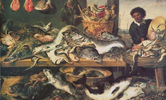 """Il mercato del pesce diFrans Snyders (1618), unodei tanti dipinti a tema gastronomico illustrati inIl gusto di raccontare. Crostacei, pesci, molluschi e frutti mare nei dipinti, sulle tavole e nelle cucine"""" della studiosaFabiana Mendia. (Timìa Edizioni), primo di una collana di 8 uscite.Si acquista onlinea 13 euro. Mercoledì 30 maggio l'autrice interverràallaCasa del Cinemadi Roma, ore 19"""