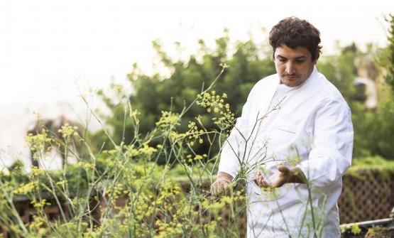 Mauro Colagreco in the gardens at Mirazur, a haven and a strong point in the lockdown, a source of inspiration for the reopening. It's here that Mirazur Experience begins, a new chapter for the three-starred restaurant. Photo Matteo Carassale