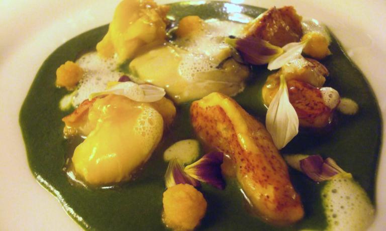 Astice e ostriche con crema di spinaci, ristoranteSotto L'Arco, Alessandro Panichi,Bologna