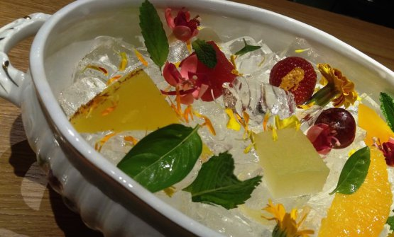 Fruit marinated with herbs and liqueurs