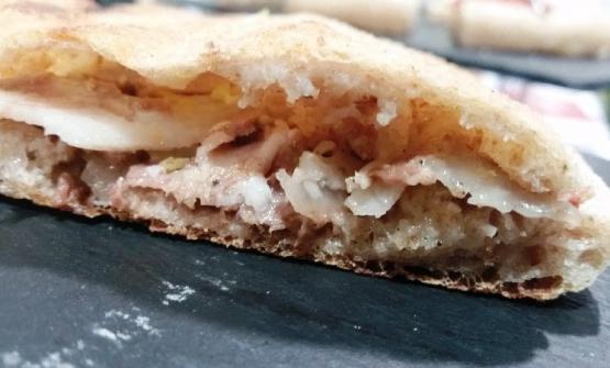 Pizza alla pala con crema di topinanbur, soppressata (coppa di testa) cotta e zest di limone di Graziano Monogrammi
