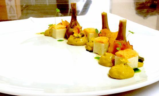 Castraure, cremino di topinambur e Asiago Stagionato Dop Vecchio, pistacchi e liquirizia verde è la ricetta 2017 dello chef Davide Filipetto, dello Storie d'Amoredi Borgoricco (Pd)