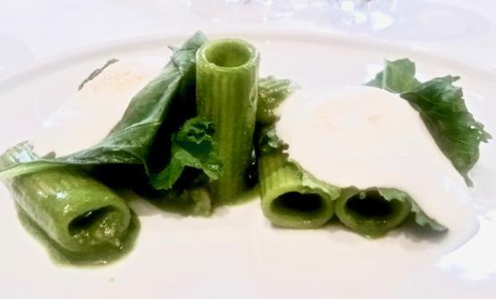 IRigatoni broccoletti, salsiccia e schiuma di pecorino romano di Luciano Monosilio