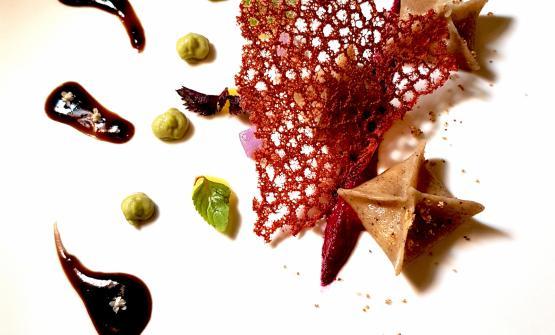 IlFazzoletto, pera e caffédiGianluca Casini, patron-chef deL'arte in Cucinadi Düsseldorf