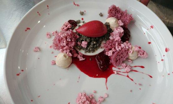 Mousse of yogurt with black sesame crumble, raspberry sponge cake with red fruit spirit, vanilla custard and red fruit nitrogenised and lyophilised sponge cake: one of Vincenzo Digifico's cakes at Miramar