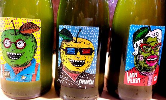 Le bottiglie di sidrodell'azienda emiliana Crocizia