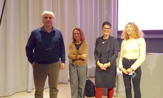 Foto dei relatori al termine dell'incontro:Federico Casotto, Livia Peraldo Matton, Sonia Massari, Valentina Raggi