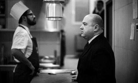 Alessandro Pipero, con lo chef di Pipero Roma Luci