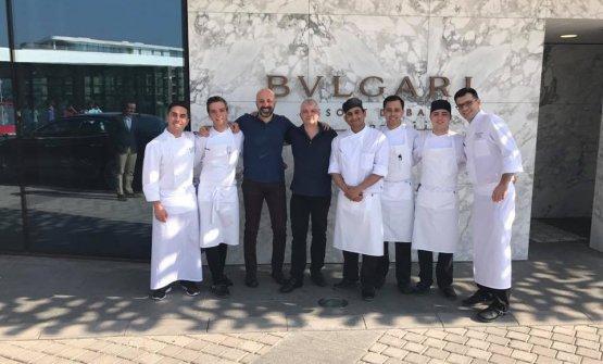 Lo staff deIl Ristorante - Niko Romito al Bulgari di Dubai