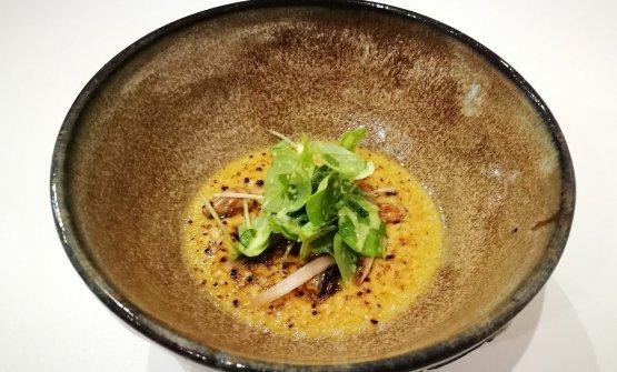Un nuovo piatto del Nub:Crème brûlée dimais, ceviche di erbe e cipolla vecchia