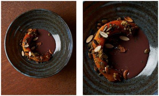 Zucca e sambuco, un piatto del Ristorante Giglio di Lucca