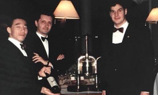Una foto storica di Giordano De Lellis, secondo da sinistra, conEtsuro Kotani e Federico Graziani