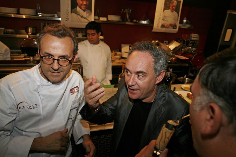 Un ospite d?eccezione a Eataly in occasione di Identità New York: Ferran Adrià, qui accanto a Massimo Bottura