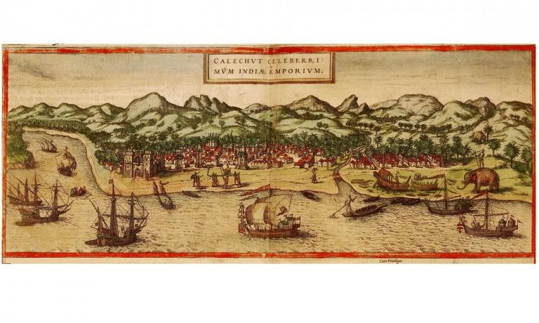 Una immagine diCalicut,Indiapubblicata nel 1572 durante il controllo portoghese del commercio del pepe