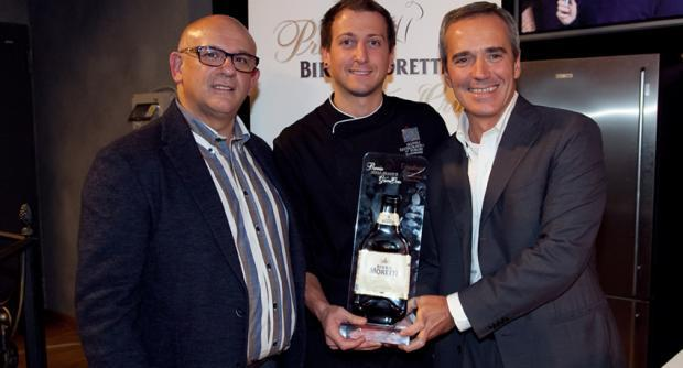 Christian Milone, vincitore del concorso 2012 (in foto con Claudio Sadler e Alfredo Pratolongo). oggi è tra le firme più promettenti della cucina italiana