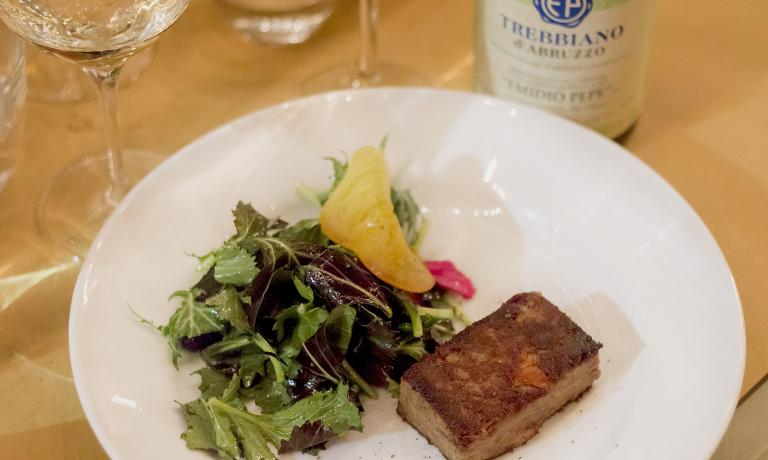 Lamb terrine with mizuna and persimmon, paired with a 2012 Trebbiano