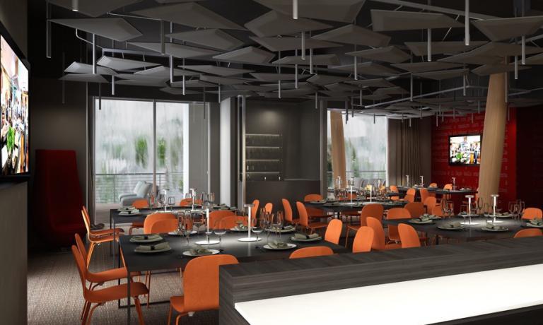 Il primo piano del ristorante che sorgeràsul decumano, tra i padiglioni di Malesia e Tailandia