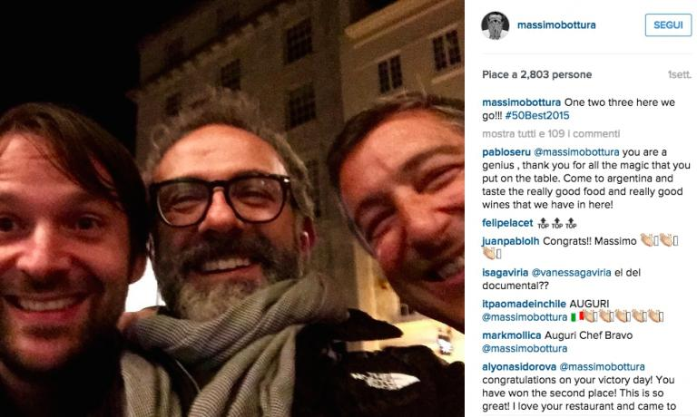 The selfie published on Massimo Bottura's Instagram account on the night before the 50Best ceremony. The same 3 chefs were confirmed at the top, yet in a different order (Joan Roca first from second, Bottura second from third, Redzepi third from first)