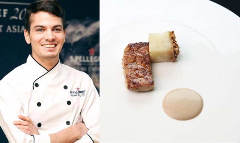 Zonarelli e il piatto con le quali ha vinto le selezioniNortheast Asia dellaS.Pellegrino Young Chef 2016:Sweetbreads, celeriac & hazelnuts, ossiaAnimella di vitello, sedano rapa e nocciole