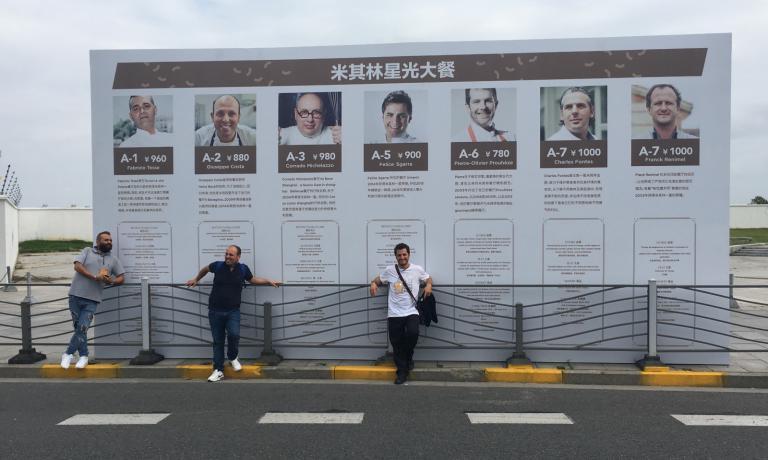 Fabrizio Tesse, Giuseppe Costa e Felice Sgarra alWest Bund Food Festival di Shanghai