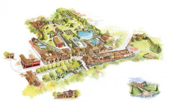 La mappa che riassume i dettagli del Village Blanc a Vonnas, non lontano da Lione. Una vera e propria cittadina immolata al gusto (fotowww.georgesblanc.com)