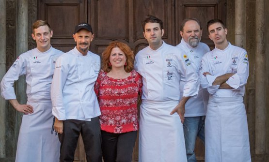 A group photo at the Accademia Bocuse d'Or Italia in Alba (Cuneo). Left to right, Curtis Mulpas, Enrico Crippa, Daniela di Giovanni, Martino Ruggieri, Luciano Tona, François Poulain