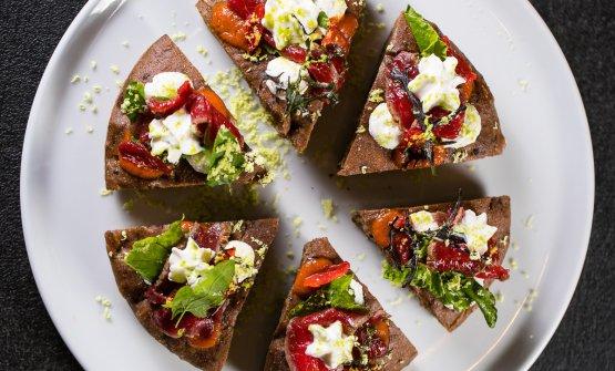 Tonda a lievitazione naturale, yogurt agli agrumi e gambero rosso di Mazara di Heinz Beck