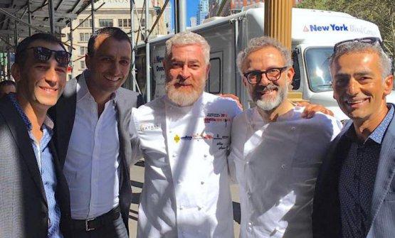 I fratelli Campilongo e il loro socio Michael Oliverio con Alex Atala e Massimo Bottura a Identità New York 2016