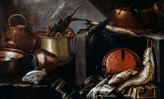 """Particolare di """"Composizione con pesci e crostacei"""" di Giovan Battista Recco (metà XVII secolo). Prossime tematiche della collana: 2) selvaggina, carni rosse, pollame e maiale,3) focacce, pizze, pani e ciambelle,4) biscotti, tè, caffè e cioccolata,5) verdure, legumi, funghi e tartufi,6) salumi, formaggi, uova e pasticci,7) pasta, polenta, riso e patate,8) torte, dolci, frutta e sorbetti"""