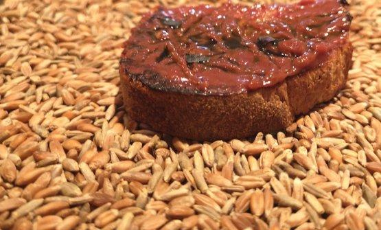 Bruschetta con prugna fermentata