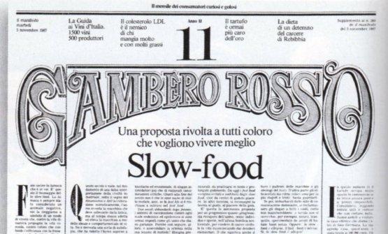 Il manifesto Slow-fooduscito il 3 novembre 1987 sulGambero Rosso,con una chiocciola disegnata daGianni Sassi