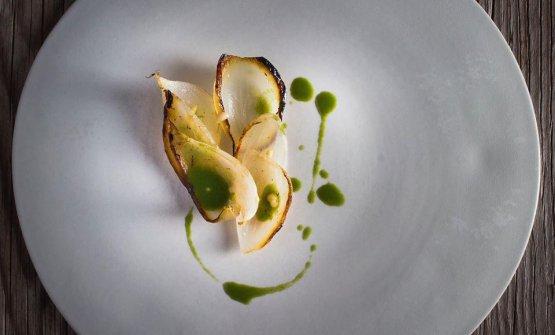 Uno dei piatti simbolo del Venissa:Cipollotto e cipresso